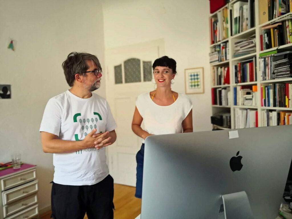 Verena Maas und Sebastian Züger von tvist beim Pitch fürs Gründerstipendium NRW