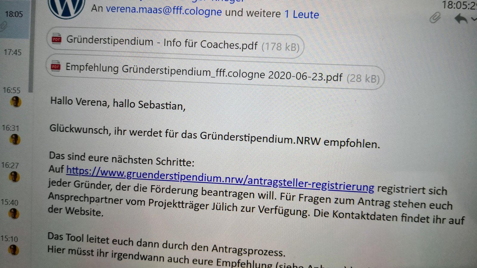Zusage zum NRW-Gründerstipdenium an tvist